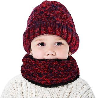 oenbopo أطفال الأولاد والبنات قبعة دائرية وشاح أطفال شتاء محبوك دافئ الرقبة قبعة قبعة صغيرة الرقبة قبعة صغيرة الرقبة وقطعتين