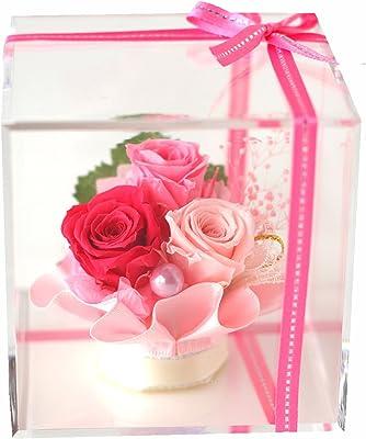Azurosa(アズローザ) プリザーブドフラワー ギフト枯れない花 バラ アジサイ クリアキューブ ピンク 【ラッピング リボン 済み】