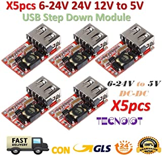 TECNOIOT 5pcs 6-24V 24V 12V to 5V USB Step Down Module DC-DC Converter