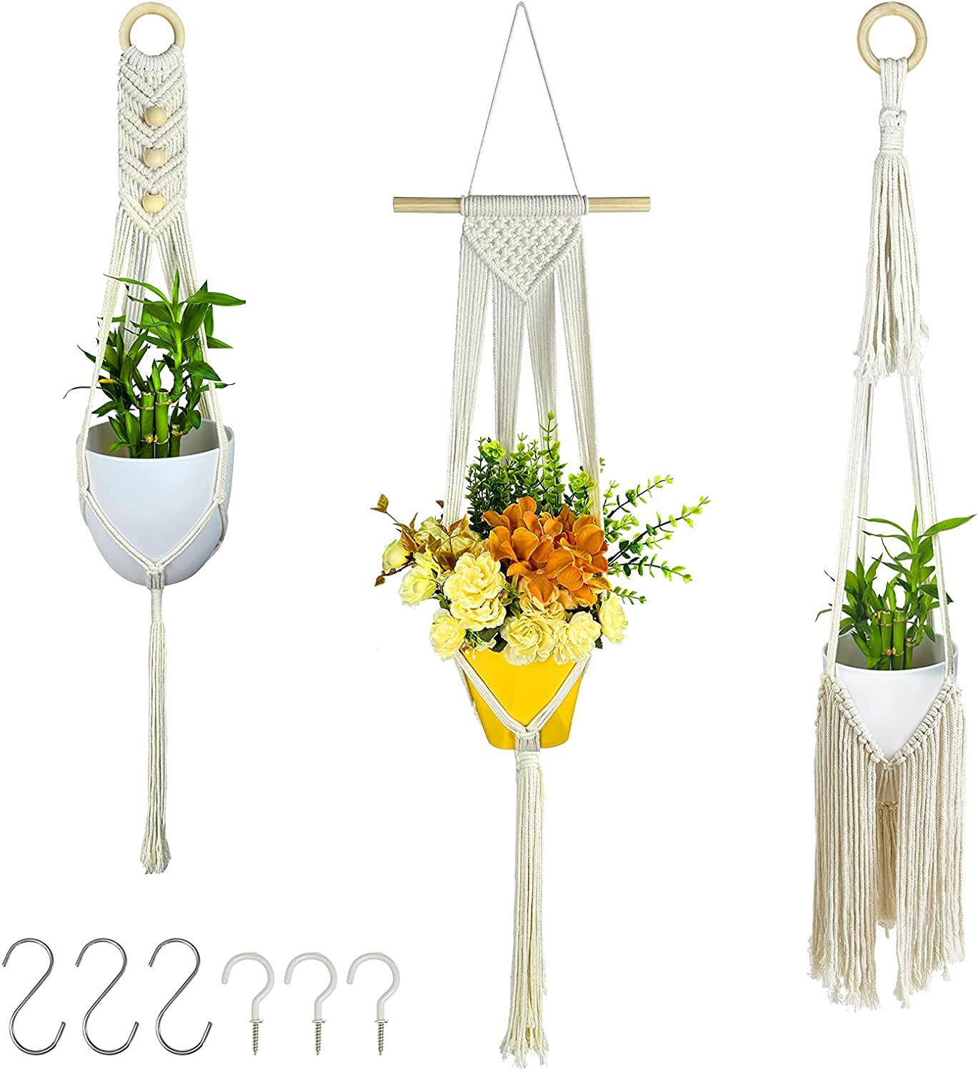 3 Sale Pack Macrame Fixed price for sale Plant Hangers - Hoo Planter with 6 Basket Hanging