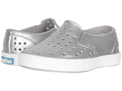 Native Kids Shoes Miles Metallic (Toddler) (Silver Metallic/Shell White) Girl