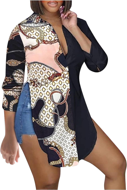 Low Cut Tops for Women Sexy V Neck Tees Irrigular Hem Tunic Long Sleeve Blouse Stylish Graphic T Shirt