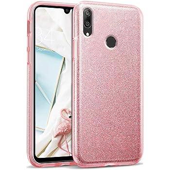 Cover Per Xiaomi Redmi Note 7 Silicone TPU Rosa E Argento Brillante Purpurina