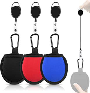 Linkidea 3 Pack Portable Pocket Golf Ball Washer Pouch, Golf Ball Towel Cleaner Bag with Carabiner Stretchable Lanyard and...