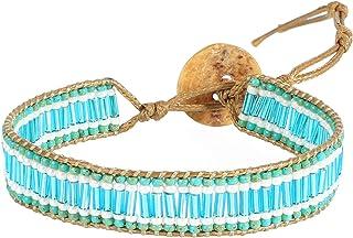 KELITCH التفاف أساور قابلة للتكديس بذور الخرز أساور النساء ستراند أساور نمط بوهو مجوهرات (أزرق)
