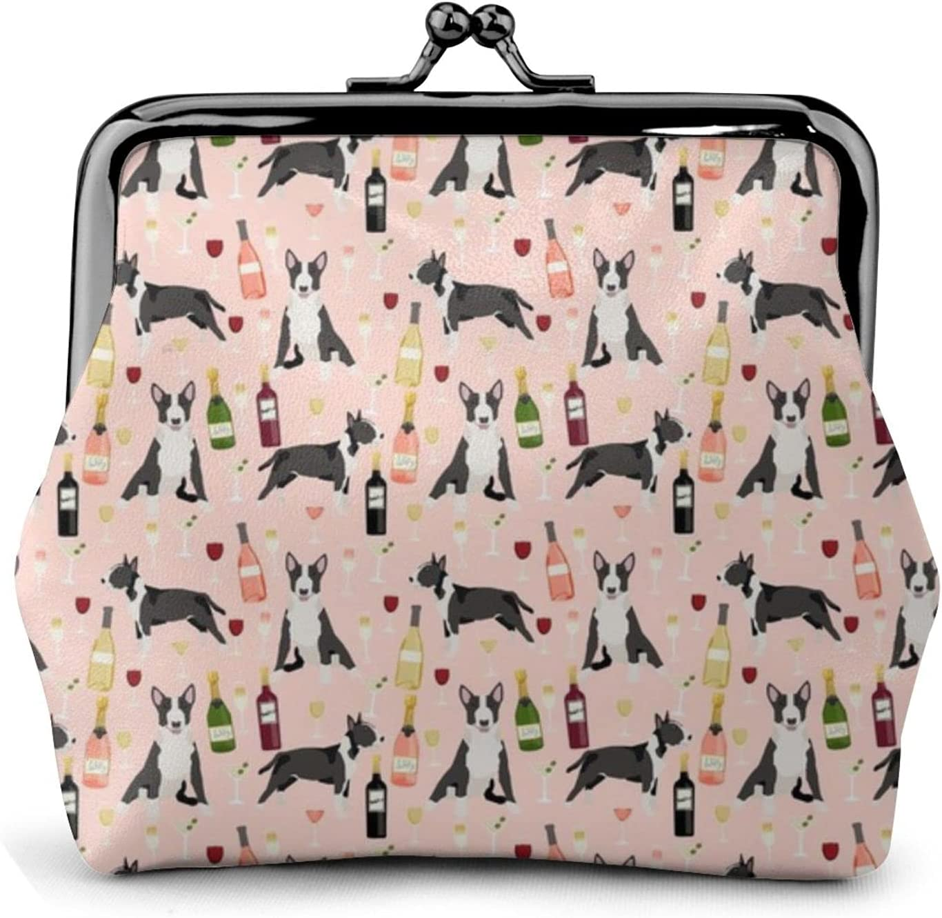 Bull Terrier Wine 1324 Coin Purse Retro Money Pouch with Kiss-lock Buckle Small Wallet for Women and Girls