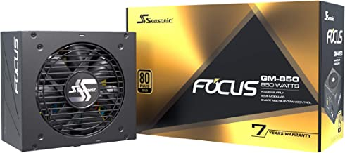 Seasonic Focus GM-850, 850W 80+ Gold, Semi-Modular, Fits All ATX Systems, Fan Control in Silent and Cooling Mode, 7 Year W...