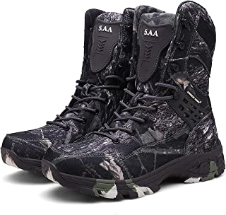 Aegilmc Men Camouflage Combat Tactical Boots, Outdoor Military Boots Men All Terrain Waterproof Sport Hiking Delta Combat Boots Laced Shoes Work Utility,Black,43EU