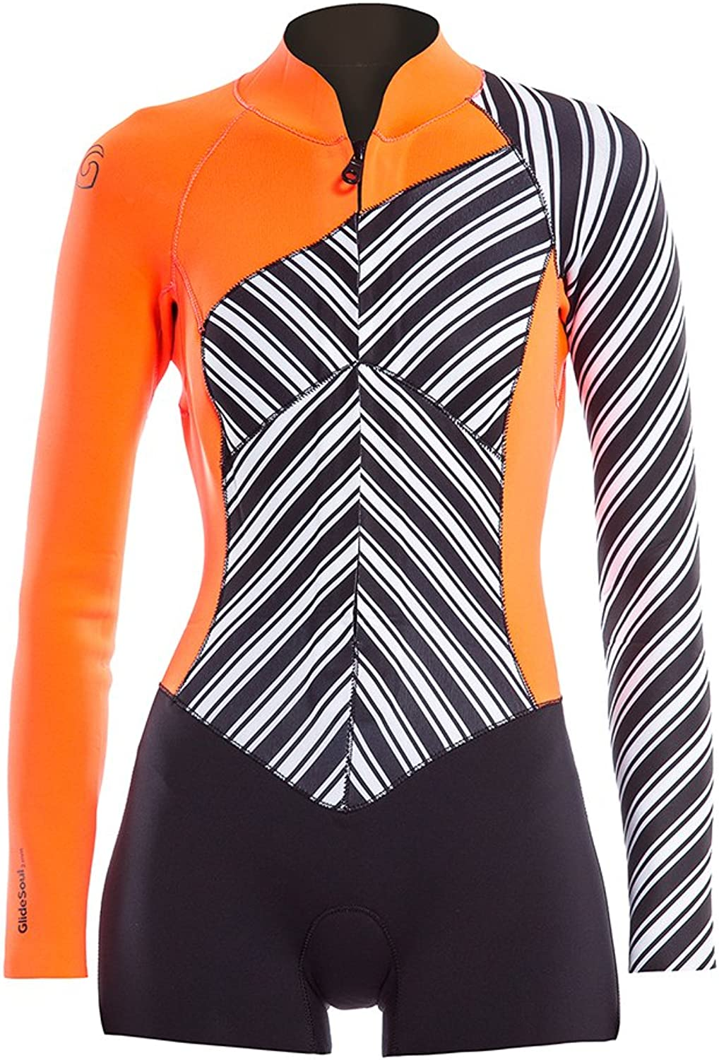 Glidesoul Women's Vibrant Stripes Collection 2mm Spring Suit, Stripes Print Black Peach, XSmall