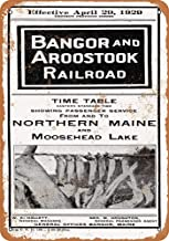 Retro Exterior Wall Decorative Metal Tin Signs,1952 Bangor and Aroostook Railroad Northern Maine ,Fashion Novelty Fun Sign 812in