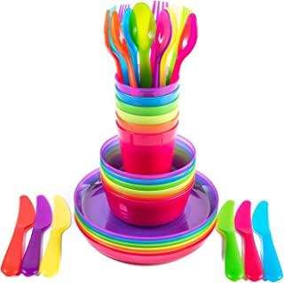 Plastic Dinnerware Set For 6, Kids Dishes Set Include 36 Pieces (Plates, Bowls, Cups and Flatware) Rainbow Colours For Kid...