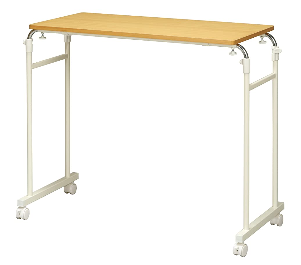 インストールそれにもかかわらず延期するキャスター付伸縮ベッドテーブル ベッドサイドテーブル ナチュラル