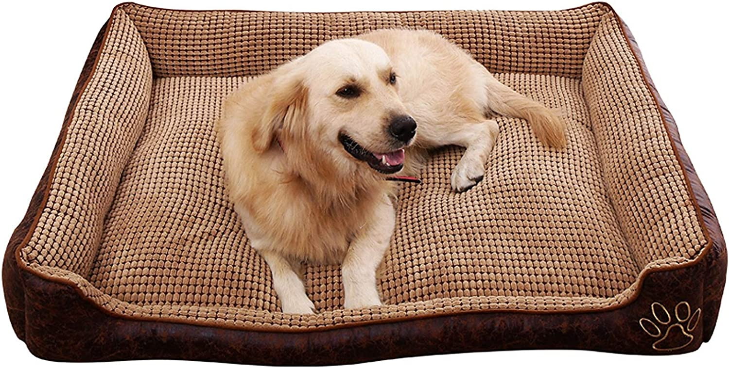 AGOUWO Deluxe Coffee color Dog Bed Cat Pet Pillow Fleece For Large Dogs, Using Fur Velvet, Oxford Frabric, Waterproof Hardwearing, Detachable and Washable,L