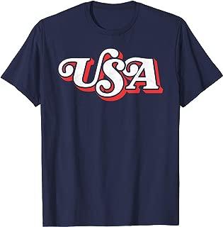 Vintage USA Retro Typography Patriotic 4th of July 80's T-Shirt
