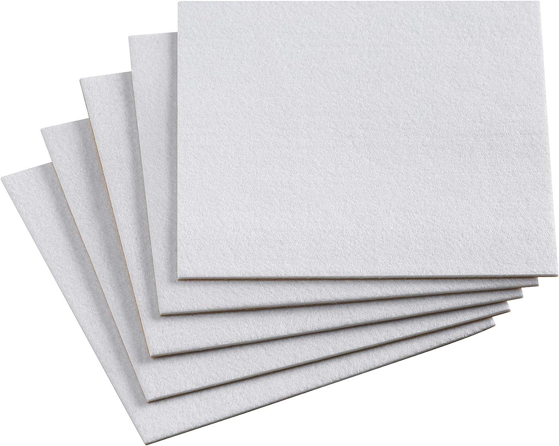 Meister 645546 - Paneles de fieltro autoadhesivos (200 x 200 mm, 5 unidades), color blanco
