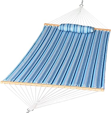 Prime Garden Quilted Fabric Hammock with Pillow, Double Hammock with Hardwood Spreader Bars, 2 People, Blue Navy Stripe