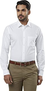 Raymond Solid Cotton White Slim Fit Cutaway Collar Full Sleeve Shirt