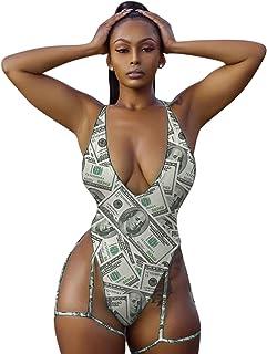 Women Rave Sexy Snakeskin Print Bodysuit Halterneck Swimsuit with Garter Belt