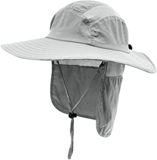 Mens UPF 50+ Sun Protection Cap Wide Brim Fishing Hat with Neck Flap