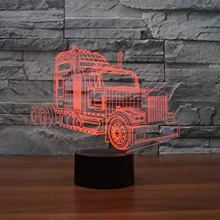 YTDZ Creative 3D Truck Night Light 7 Colors Changing USB Power Touch Switch Decor Lamp Optical Illusion Lamp LED Table Desk Lamp Children Kids Brithday