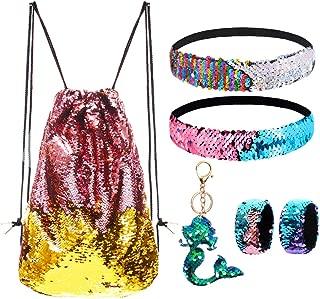 Mermaid Reversible Sequin Drawstring Backpack/Bag Gold/Pink for Kids Girls