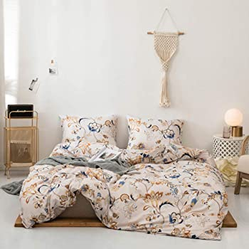 Tebery Lightweight Microfiber Bedding Duvet Cover Set with Zipper Closure Ultra Soft Comforter Covers Colorful Floral Pattern (Twin)
