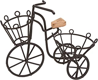 Juvale Plant Stand - Miniature Plant Stand, Succulent Plant Stand, Iron Bicycle Potted Plant Holder for Garden Decor, Indoor, Outdoor Plant Storage, Black - 6.73 x 5.92 x 2.5 inches