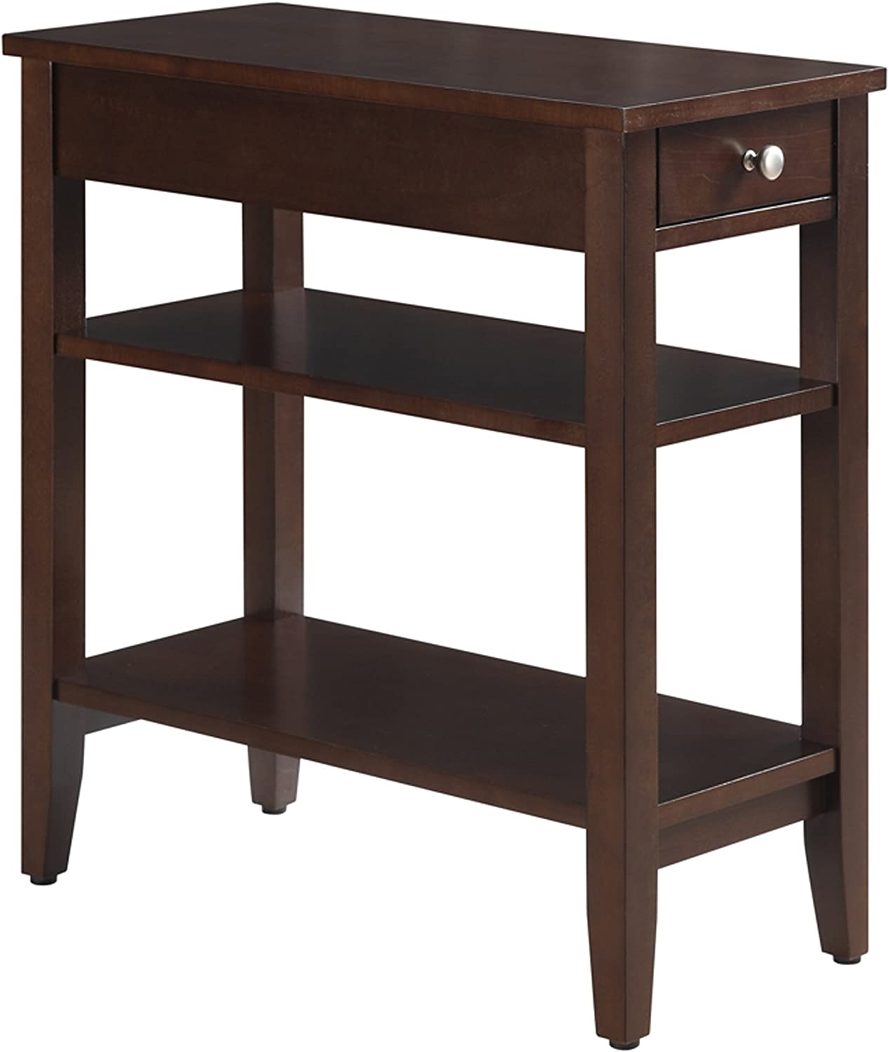 Convenience Concepts American Heritage 3-Tier End Table with Drawer, Espresso Finish