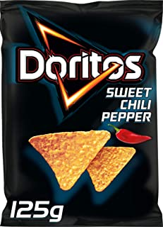 Doritos Sweet Chili Pepper – Tortilla Nachos mit süßem Chili- Geschmack – Herzhafter Snack zum Knabbern aus Mais – 125g