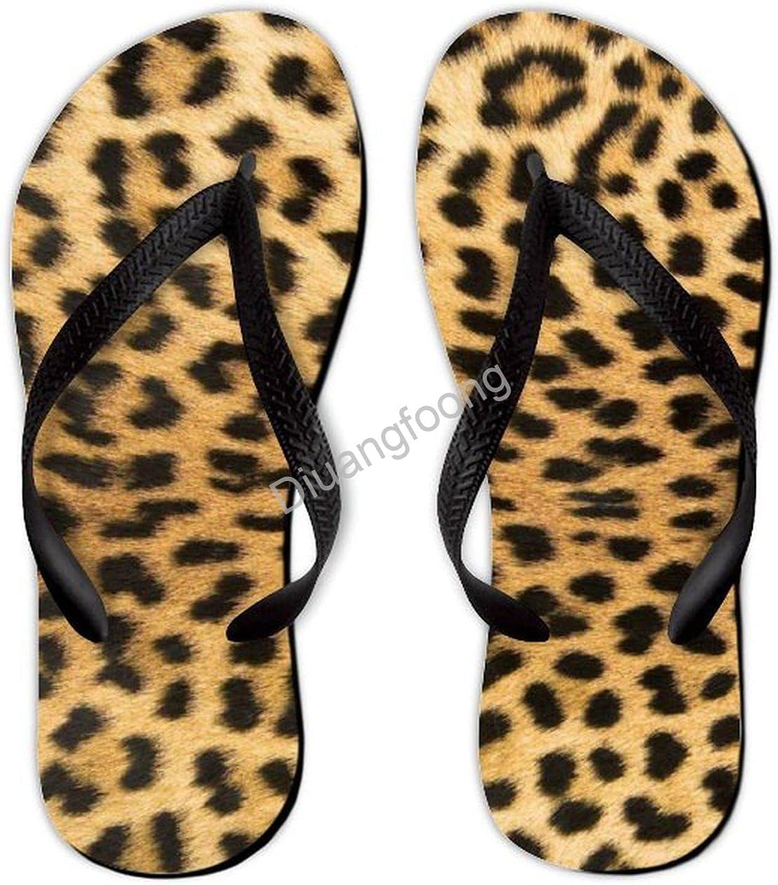 Leopard Flip Flop Beach Colorful Thong Sandals Eva Sandal For Party Bathroom Travel Black Style7