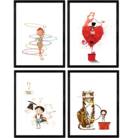 Posters con ilustraciones del circo. Acobata Payaso Tigre ...