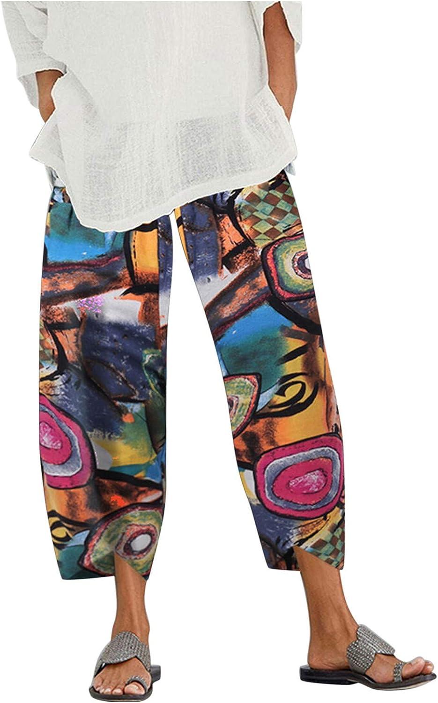 JINRS Capri Pants for Women, Summer Wide Leg Pants, Casual Harem Comfy Print Cropped Trouser Women's Linen Pants
