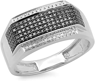 Dazzlingrock Collection 0.42 Carat (ctw) Platinum Plated Round Black & White Diamond Men's Hip Hop Ring, Sterling Silver