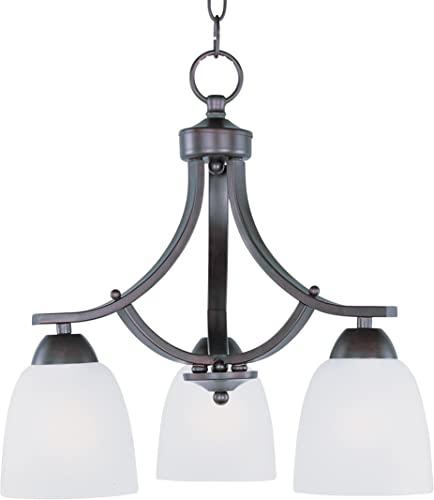 """wholesale Maxim outlet sale 11223FTOI Axis Frosted Glass sale Downlight Dinette Chandelier, 3-Light 180 Total Watts, 16""""H x 18""""W, Oil-Rubbed Bronze sale"""
