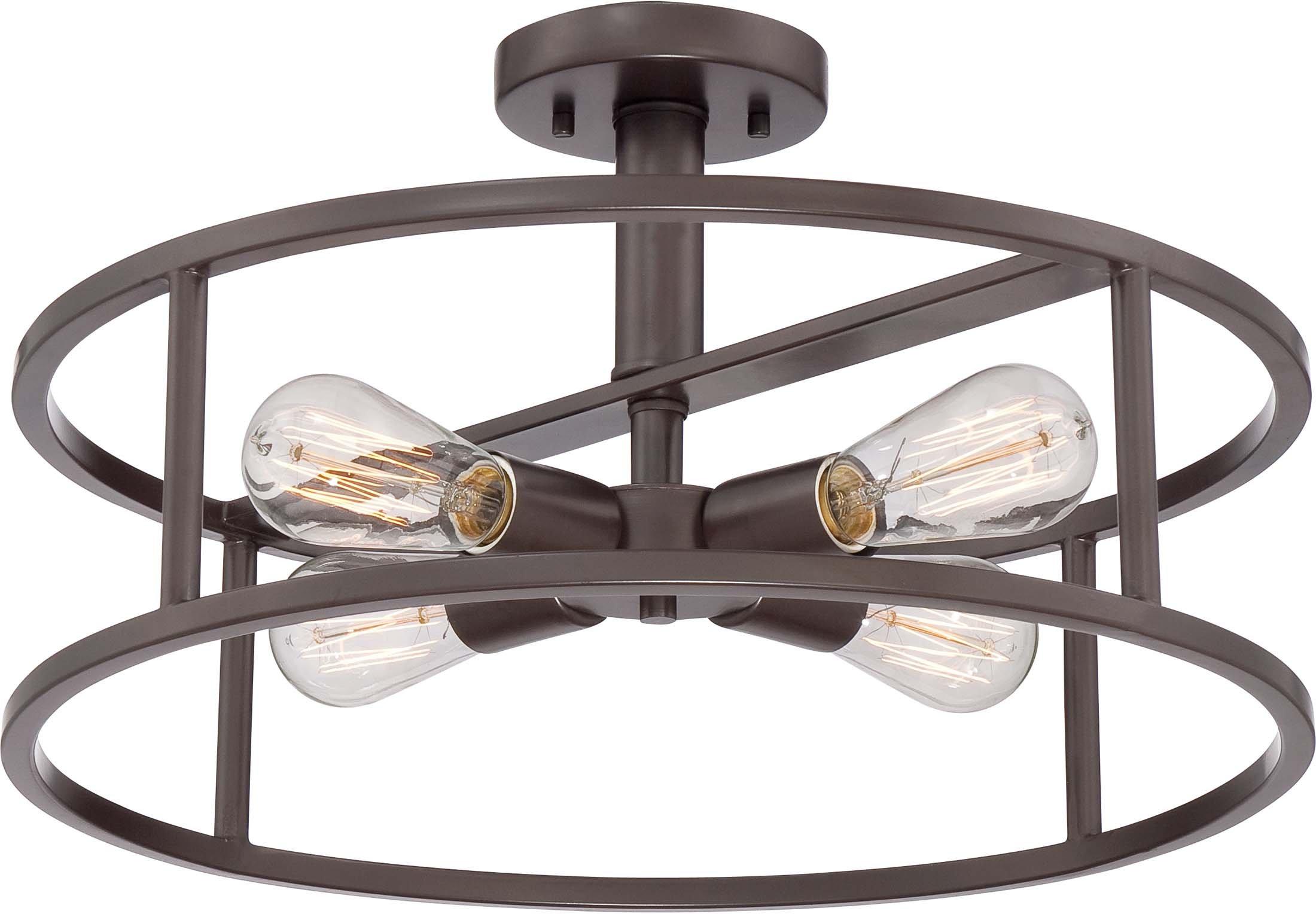 Amazon Com Quoizel Nhr1718wt New Harbor Vintage Semi Flush Mount Ceiling Lighting 4 Light 400 Watts Western Bronze 11 H X 18 W Home Improvement