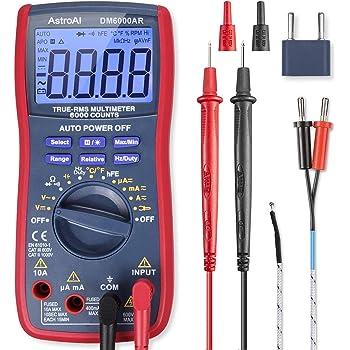 AstroAI Multímetro Digital Profesional Rango Automático 6000 Cuentas, Polímetro Digital True RMS, Temperatura, Frecuencia, Medidor de Corriente Voltaje AC/DC, Resistencia, Continua, Diodos