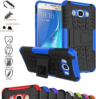 Mama Mouth Galaxy J5 2016 Funda, Heavy Duty Silicona híbrida con Soporte Cáscara de Cubierta Protectora de Doble Capa Funda Caso para Samsung Galaxy J5 J510 2016 Smartphone,Azul