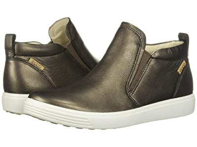 ECCO Soft 7 Slip-On Boot (Black Stone Metallic Cow Leather) Women