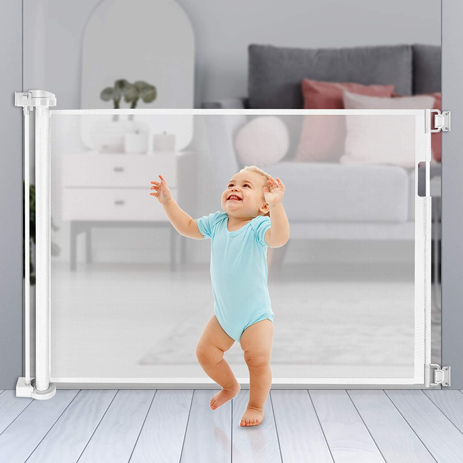 Retractable Baby Gate Extra Wide Space Efficient 35