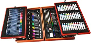 174 Pack Deluxe Art Supplies,Wooden Art Set Crafts Drawing Painting Coloring Kit with Sketch Pad, Creative Genius Box for ...