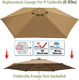 Umbrella Cover Canopy 9ft 6 Rib Patio Replacement Top Outdoor-tan