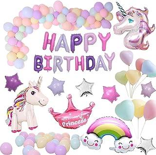 風船 誕生日 飾り付け セットユニコーンパーティー風船セット (68 個) ハッピーバースデーパーティー女の子と男の子のためのユニコーンバルーン誕生日装飾セット