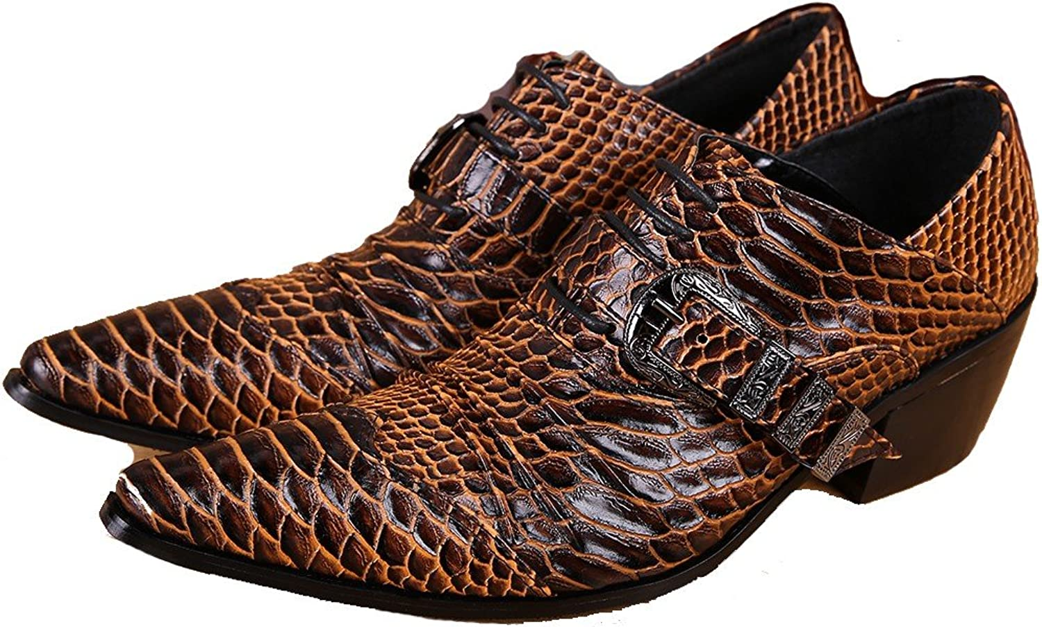 3 color Size 5-12 New Animal Print Genuine Leather Dress Oxfords Mens shoes Brown