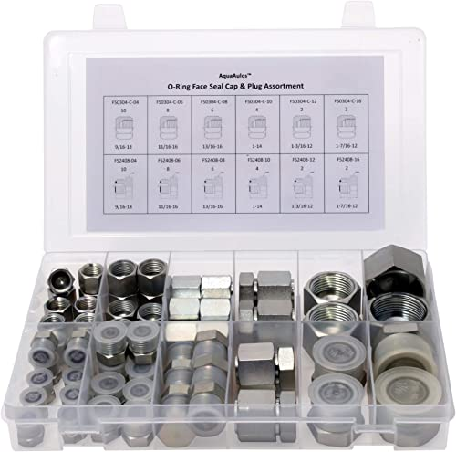 64 Pcs. O-Ring Face Seal ORFS Cap & Plug Assortment Kit, Galvanized Steel with Precision Threading ORS Flat Face Hydr...