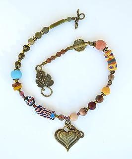 Collana boho artigianale con cuore, collana infinity hearth, collana perline colorate, regalo unico per le donne