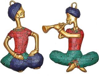 Aakrati Two Musician Brass Showpiece Statue, VZN087, Multicolor, 15 cm