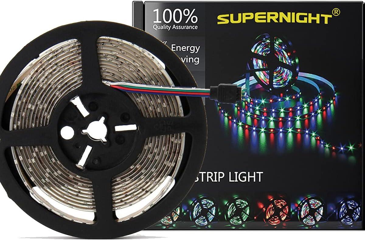 trend rank SUPERNIGHT Large-scale sale Multicolor LED Strip Lights 16.4ft 3528 Waterproo RGB