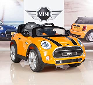 BigToysDirect 12V MINI Cooper Kids Electric Ride On Car with MP3 and Remote Control - Orange/Yellow
