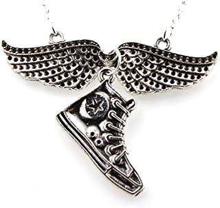 Steampunk - Angel Wings and Converse Sneaker Necklace - Silver Tone - Punkrock- Eclectic - Converse
