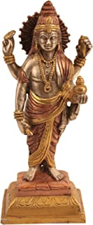 Exotic India Dhanvantari The Physician of Gods Statue, Copper-Silver-Gold, 2.5 x 3.5 x 7.5-Inch